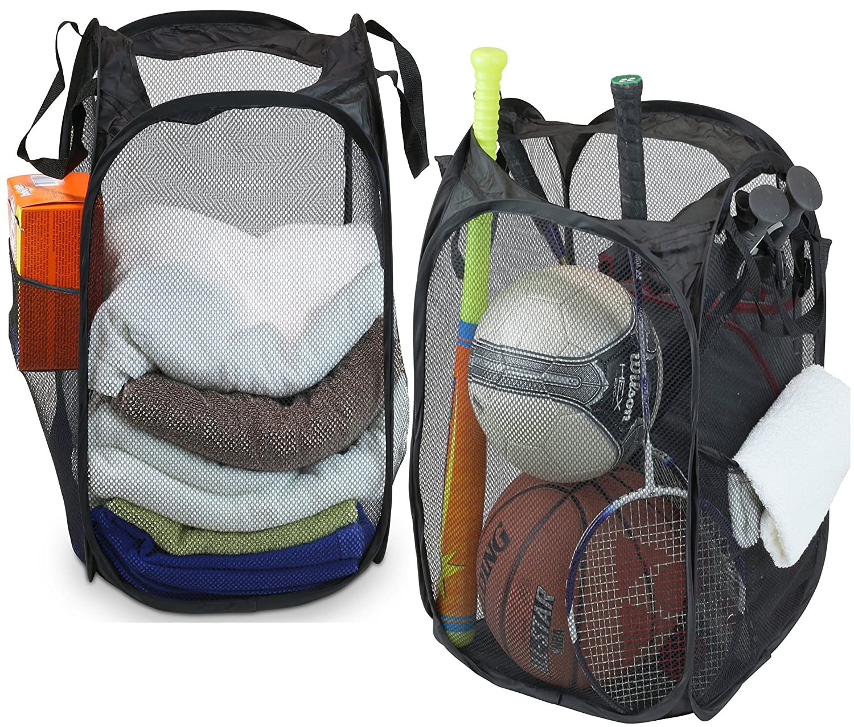 2 Pack - SimpleHouseware Mesh Pop-Up Laundry Hamper Basket With Side Pocket, Black