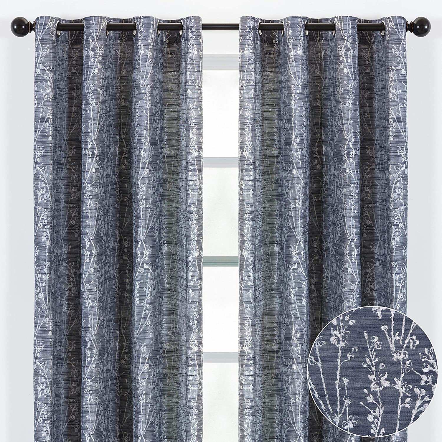 Chanasya 2-Panel Floral Jacquard Textured Dark Blue Curtains with Grommets for Windows Living Room Bedroom Office - Partial Room Darkening Drapes for Privacy and Decor - 52 x 84 Inch Long - Dark Blue