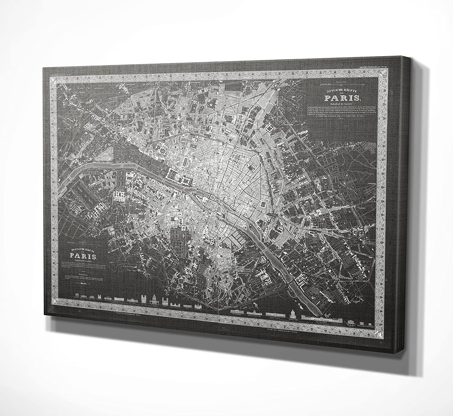 WEXFORD HOME Vintage Paris Map Outline Grey Gallery Wrapped Canvas Art, 12x18