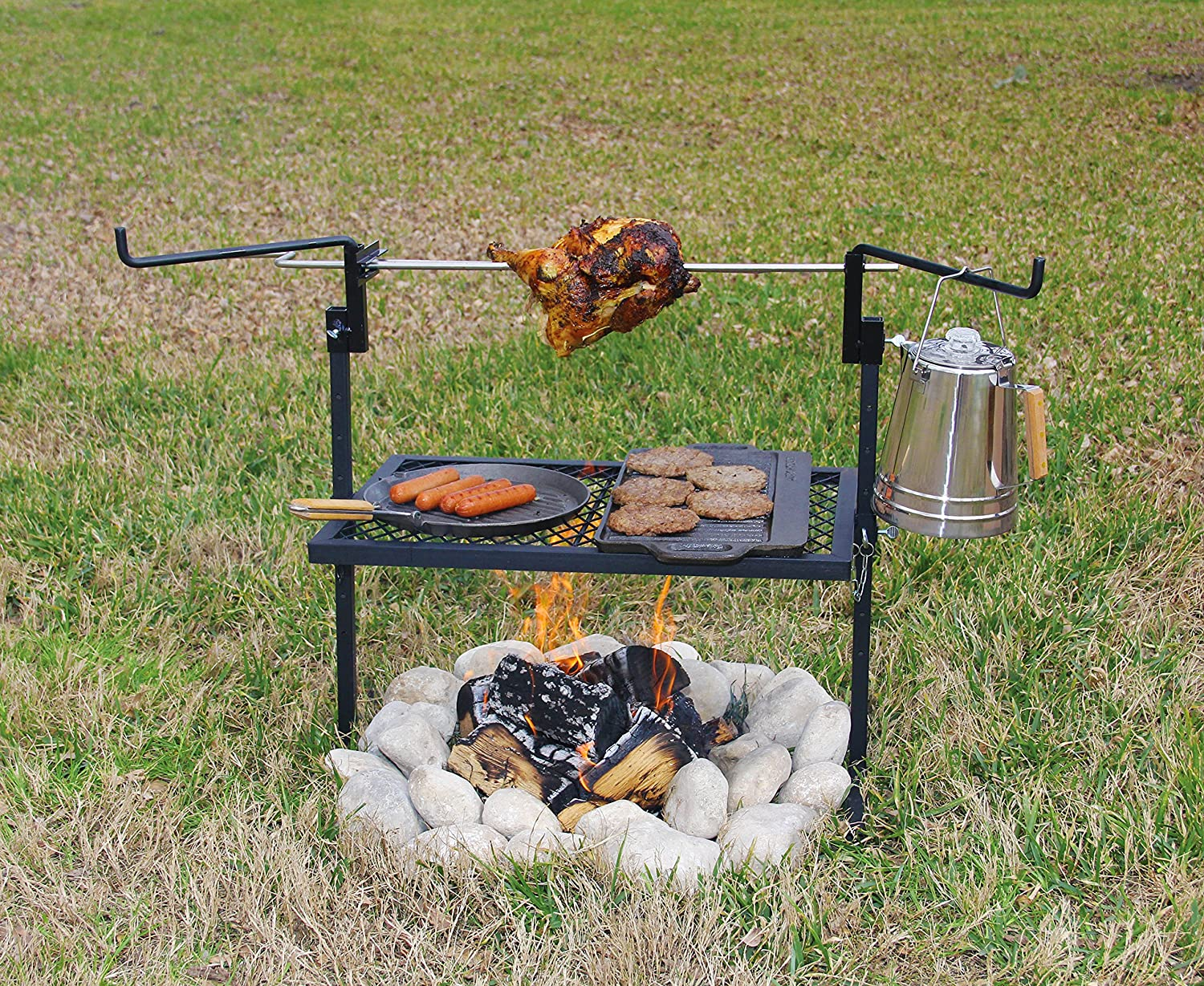 Camping Rotisserie Grill And Spit made our list of Campfire Cooking Equipment You Can't Live Without with the best tools, accessories, utensils and cookware for your camp cooking creations!