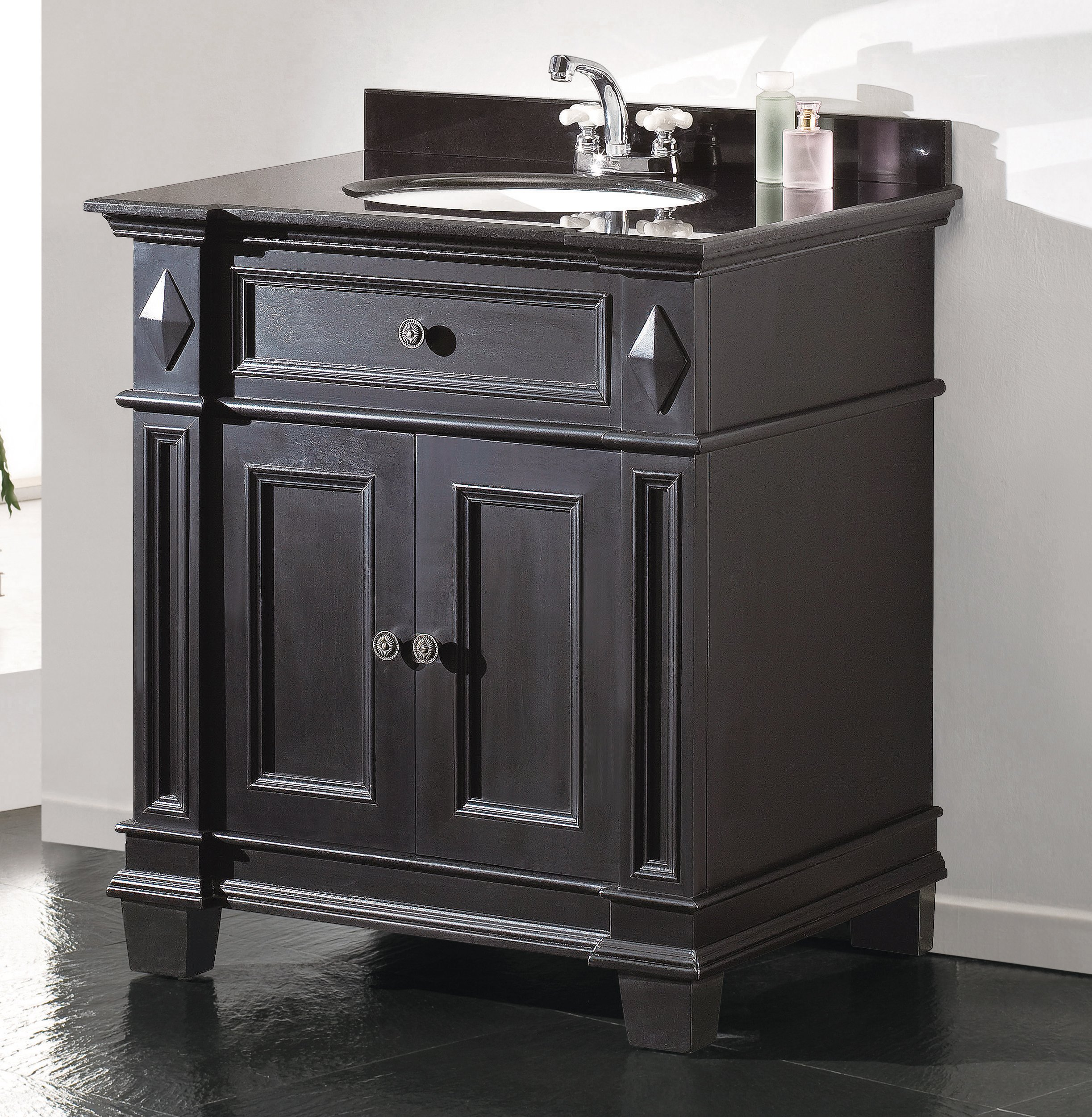 Ove Decors Essex VB Vanity with Black Marble Countertop with Ceramic Basin, 31-Inch Wide, Espresso - Bathroom vanity with granite countertop CUPC ceramic basin Comes fully assembled - bathroom-vanities, bathroom-fixtures-hardware, bathroom - A1onSqJGfqL -