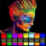 GLOW MAGIC Neon UV Body Paint Set – 8 x 20 ml / 0.7 fl oz – Black Light Make Up – Bodypainting Neon Blacklight Bodypaint Fac