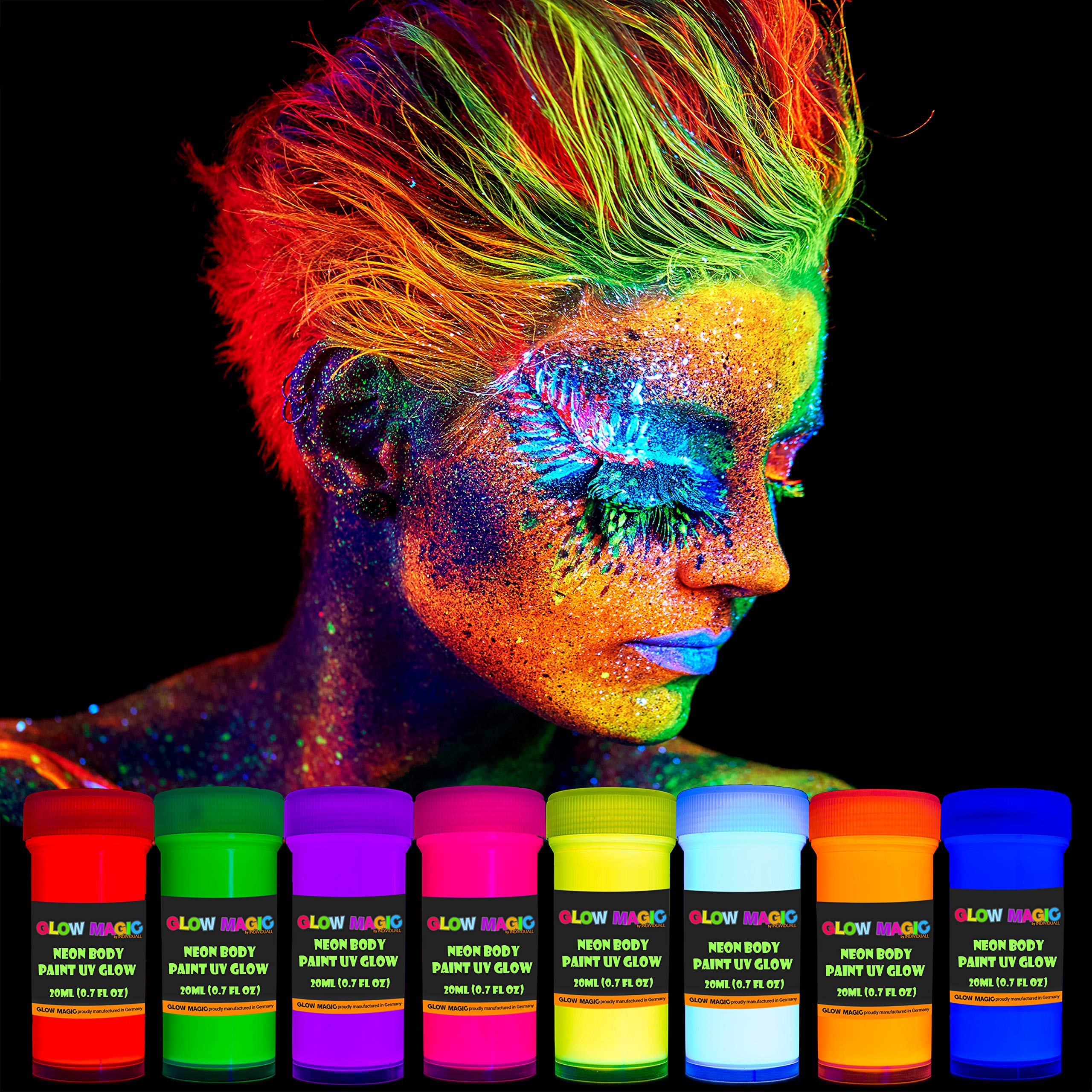 individuall Glow Magic Neon UV Body Paint Set – 8 x 20 ml / 0.7 fl oz  – Black Light Make Up – Bodypainting Neon Blacklight Bodypaint Face & Finger Paints