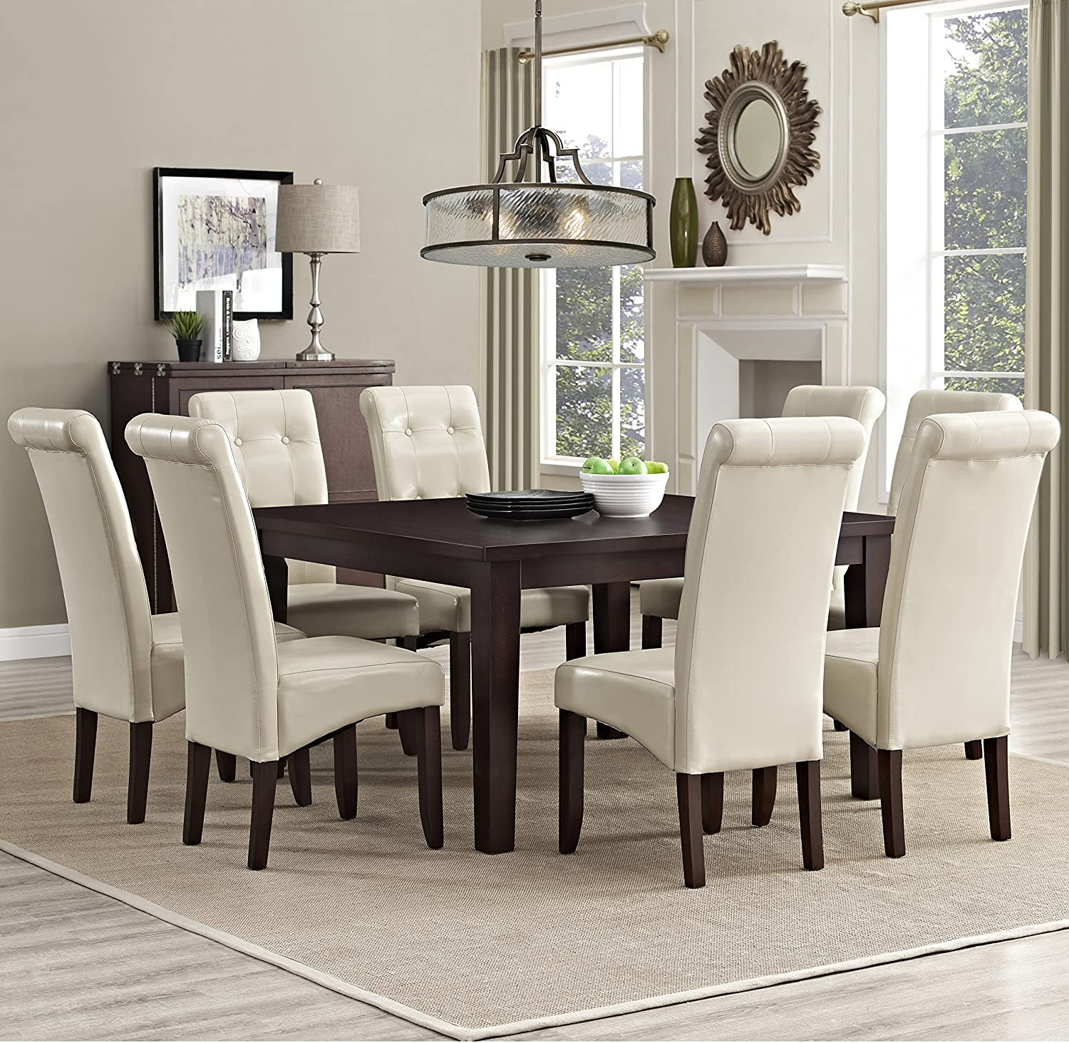 Amazon.com: Simpli Home Cosmopolitan 9 Piece Dining Set, Satin Cream:  Kitchen U0026 Dining