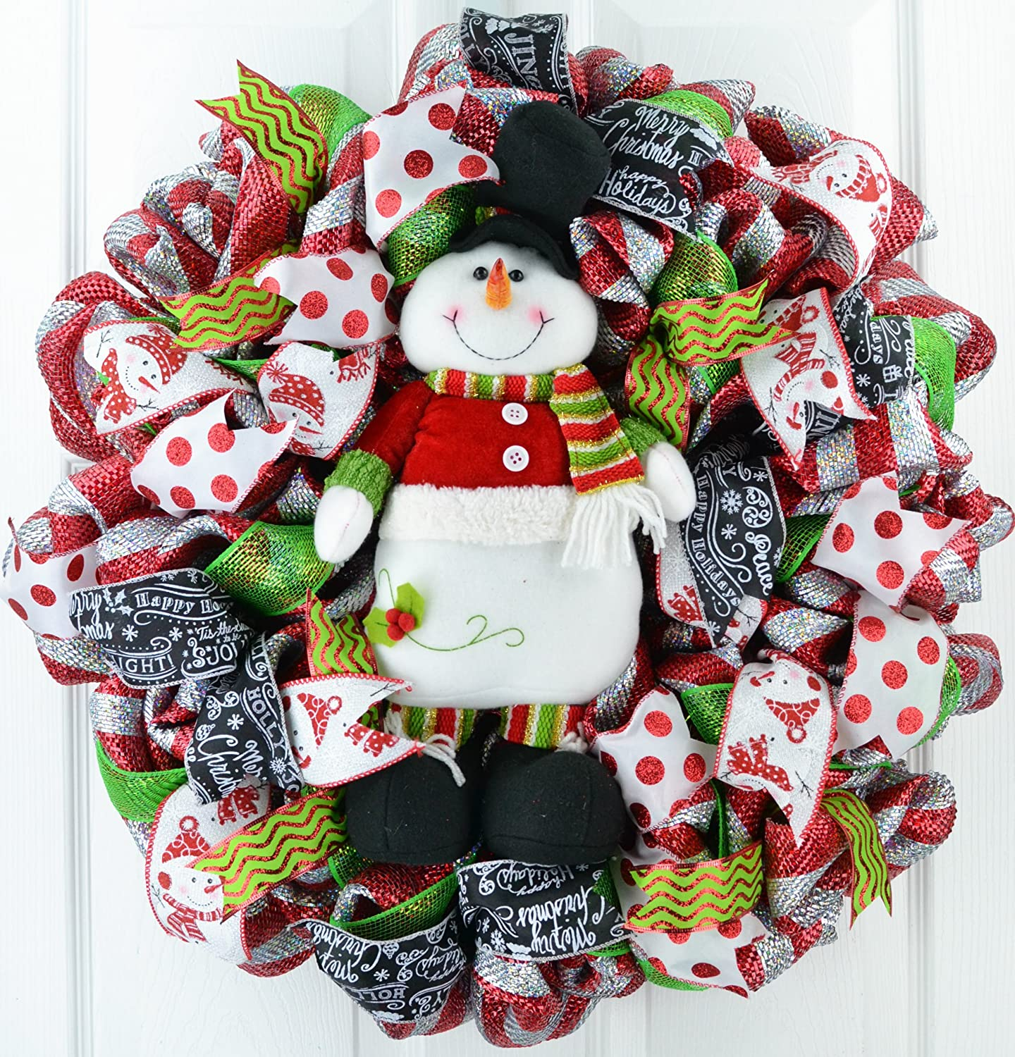 Plush Snowman Christmas Mesh Outdoor Front Door Wreath; White Red Lime Green Black