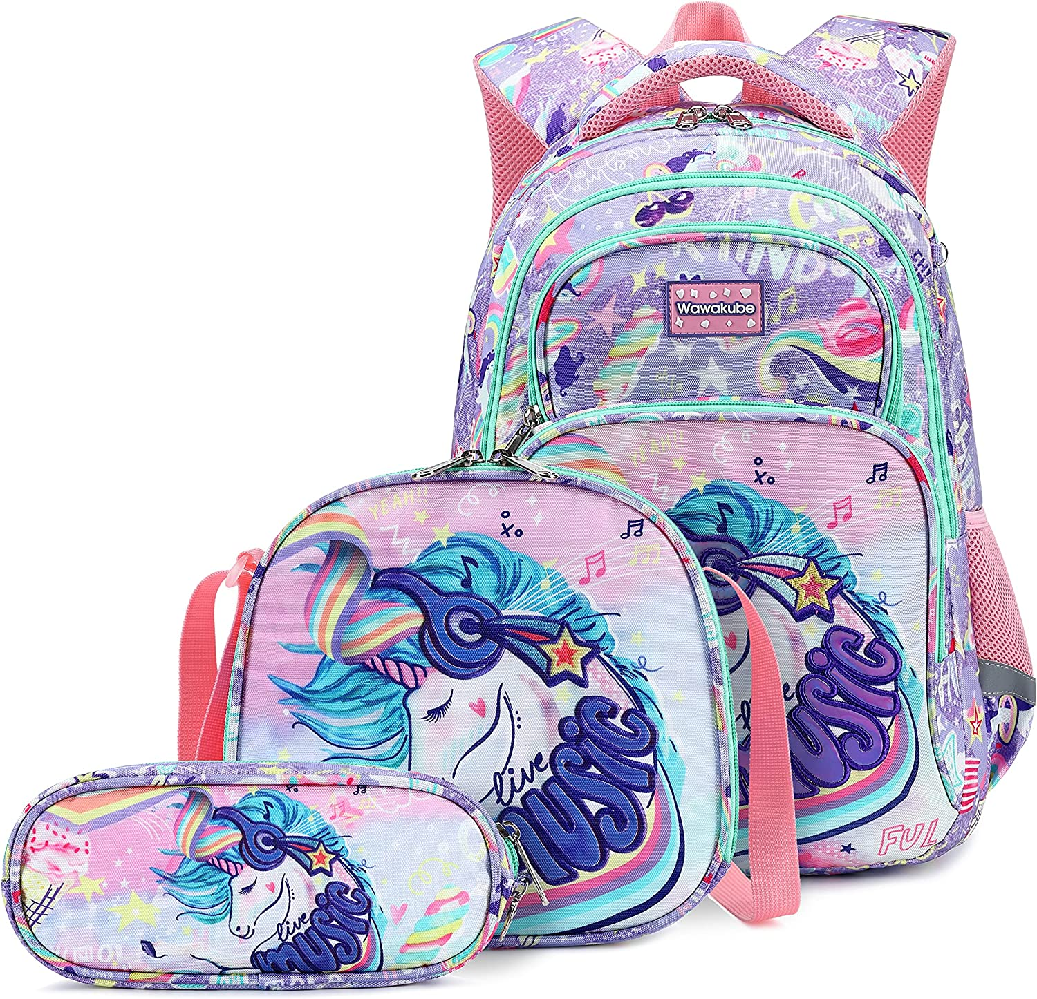 3Pcs Girls Unicorn Backpack Set with Lunch Box Pencil Case, School Book Bag for Kids Elementary Preschool