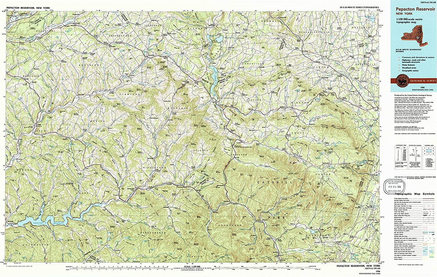 1:100000 Scale Updated 1993 1986 24.1 x 39.9 in 30 X 60 Minute Historical YellowMaps Pepacton Reservoir NY topo map