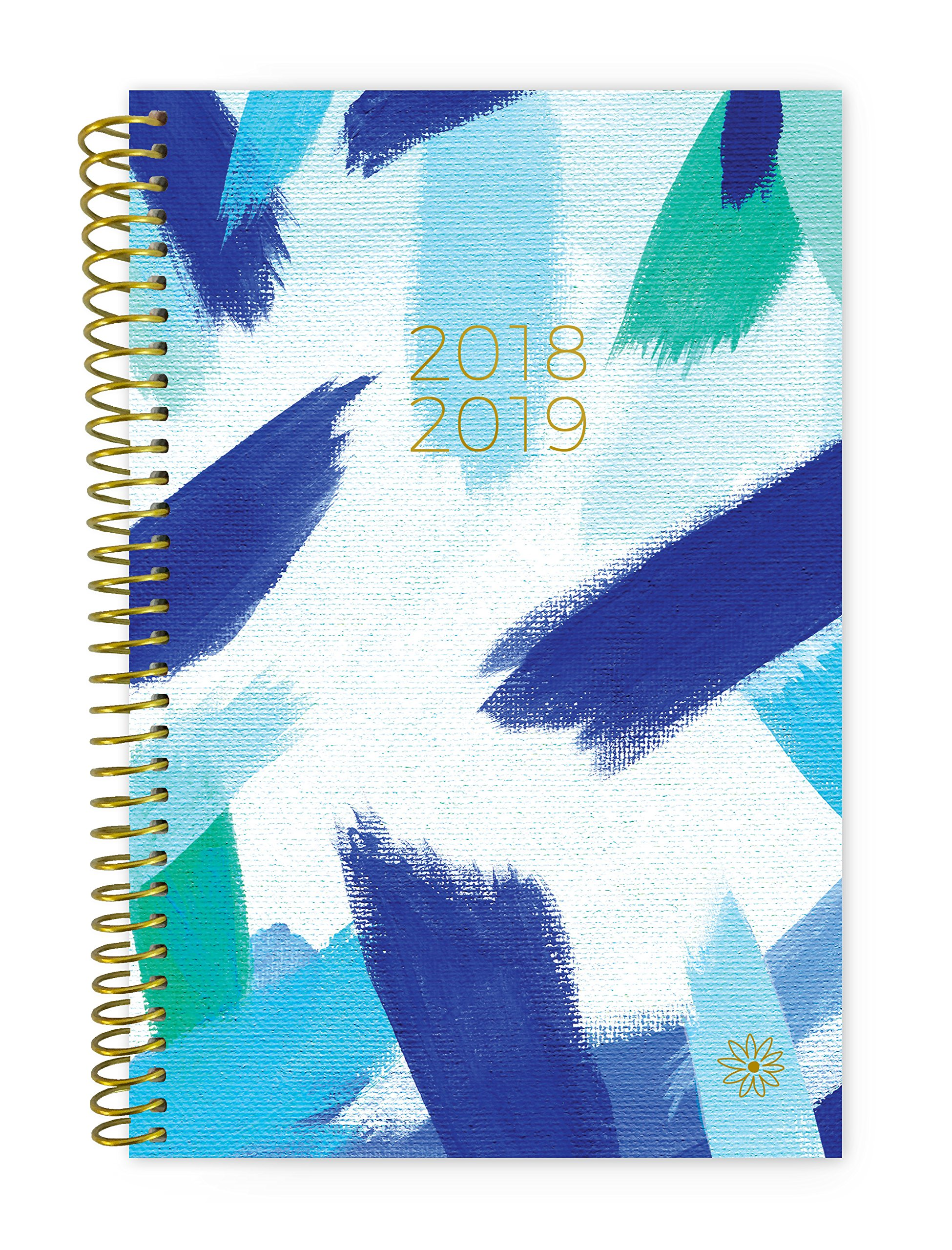 bloom daily planners 2018-2019 Academic Year Day Planner - Monthly and Weekly Calendar Book - Inspirational Dated Agenda Organizer - (August 2018 - July 2019) - 6'' x 8.25'' - Blue Strokes