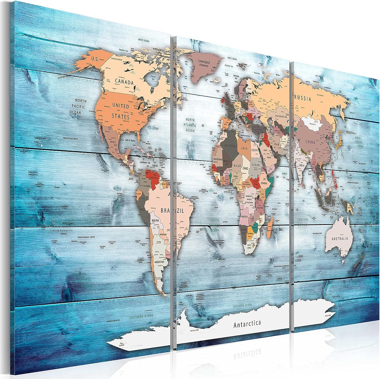 murando Tablero De Corcho & Cuadro en Lienzo 120x80 cm No Tejido XXL Estampado Memoboard Decoración De Pared Impresión Artística Fotografía Gráfica Poster Mapamundi Continente - k-C-0035-p-h