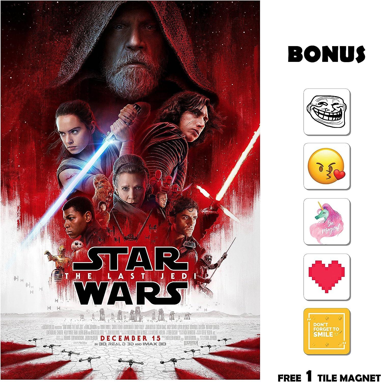 Movie Poster Star Wars 8 : The Last Jedi (2017) - Main - 13 in x 19 in Flyer Borderless + Free 1 Tile Magnet