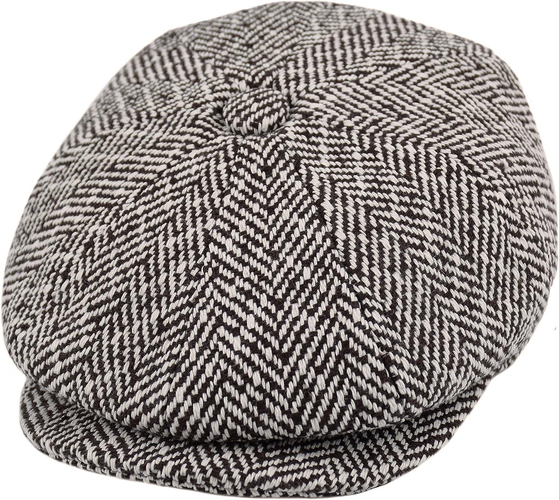Men/'s Cabbie Newsboy Applejack Ascot Patch Work Wool Ivy Hat Multi Color Brown