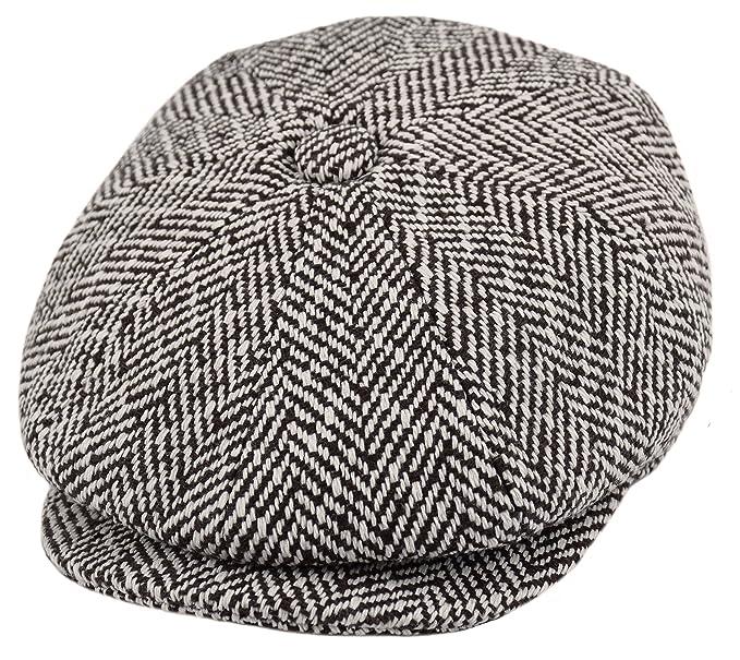 3bdfba7e05 Men's Wool Newsboy Cap, Herringbone Driving Cabbie Tweed Applejack Golf Hat