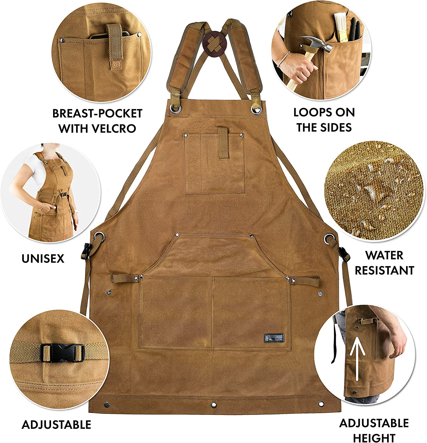 Brown Waterproof Canvas Work Apron for Men and Women Heavy-Duty Waxed for Durability and Safety