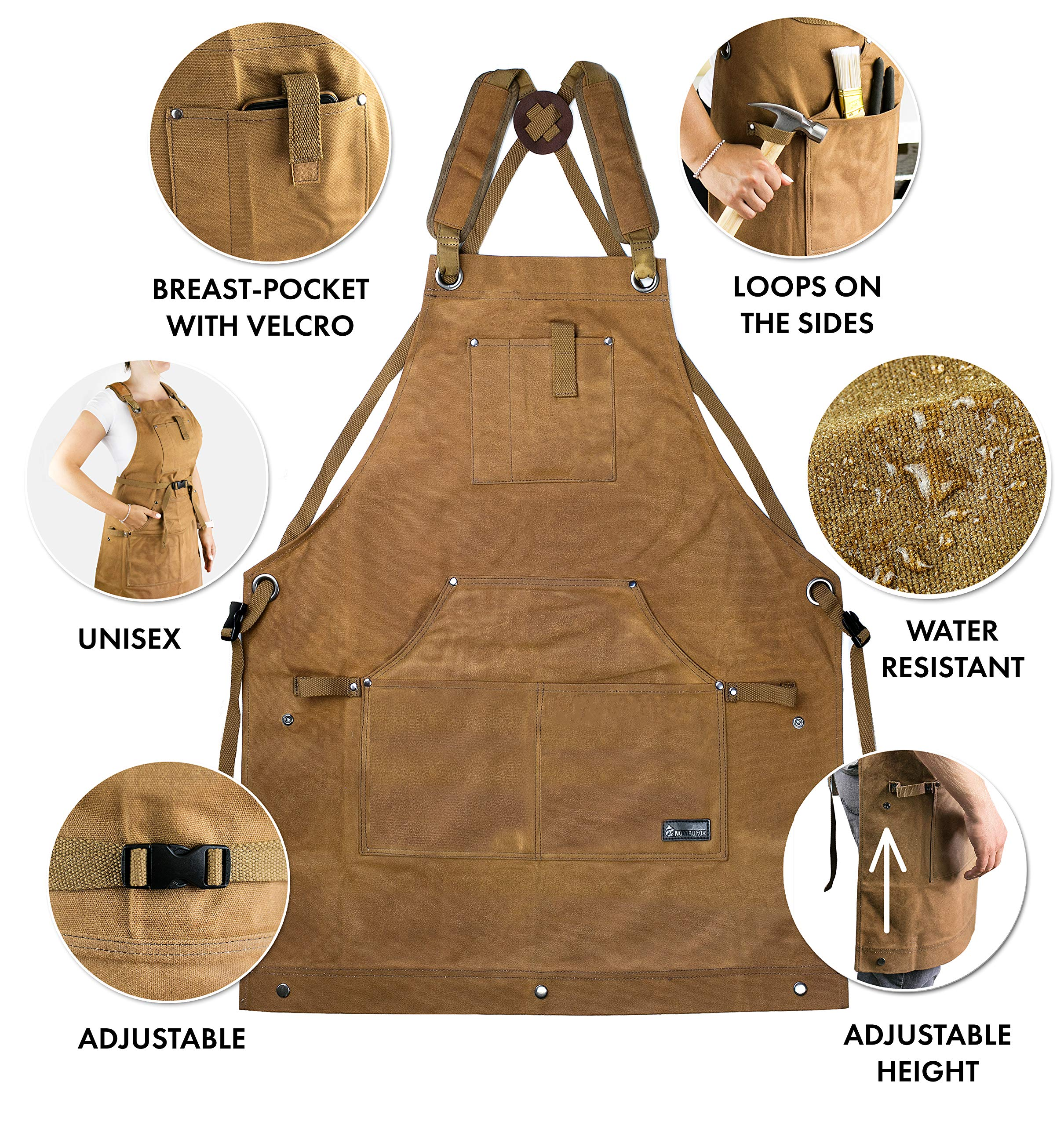 Waterproof Canvas Work Apron for Men and Women, Heavy-Duty Waxed for Durability and Safety - Brown by NomadFox (Image #6)