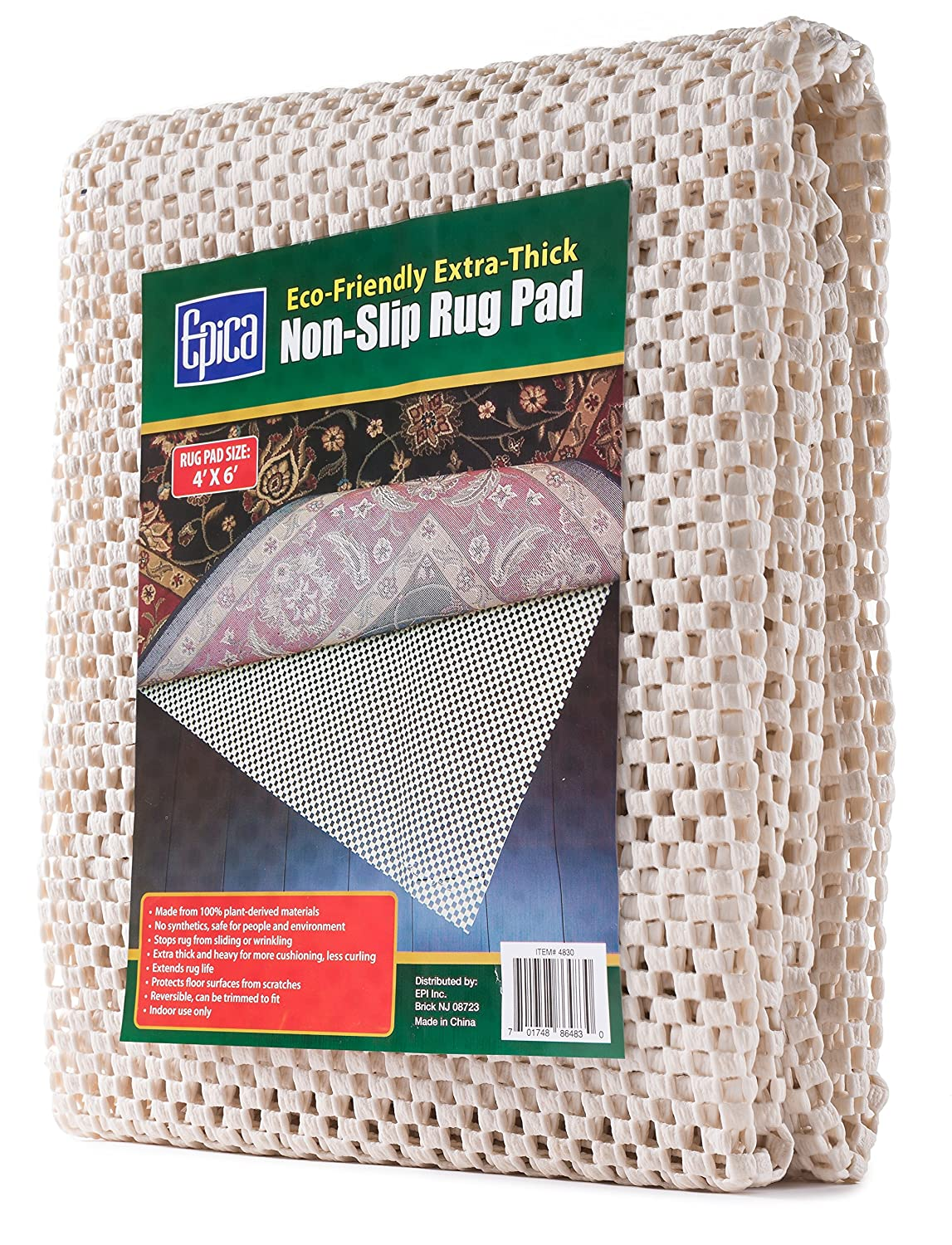 Amazon.com: Epica Extra Thick Non Slip Area Rug Pad 4 X 6 For Any Hard  Surface Floor, Keeps Your Rugs Safe And In Place: Kitchen U0026 Dining