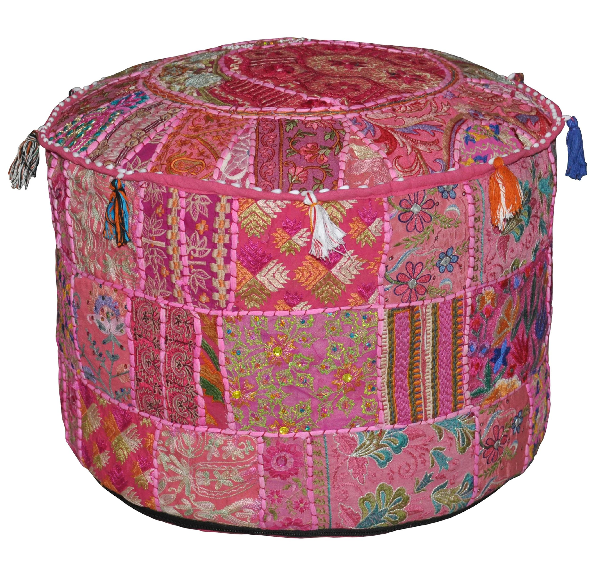 Indian Vintage Ottoman Embellished with Embroidery & Patchwork Foot Stool Floor Cushion Cover, 23 X 13 Inches