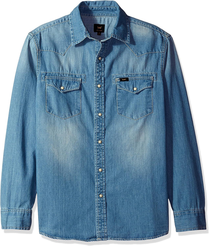 LEE - Camisa vaquera de manga larga para hombre, estilo vaquero, talla grande y alto, color vaquero: Amazon.es: Ropa y accesorios