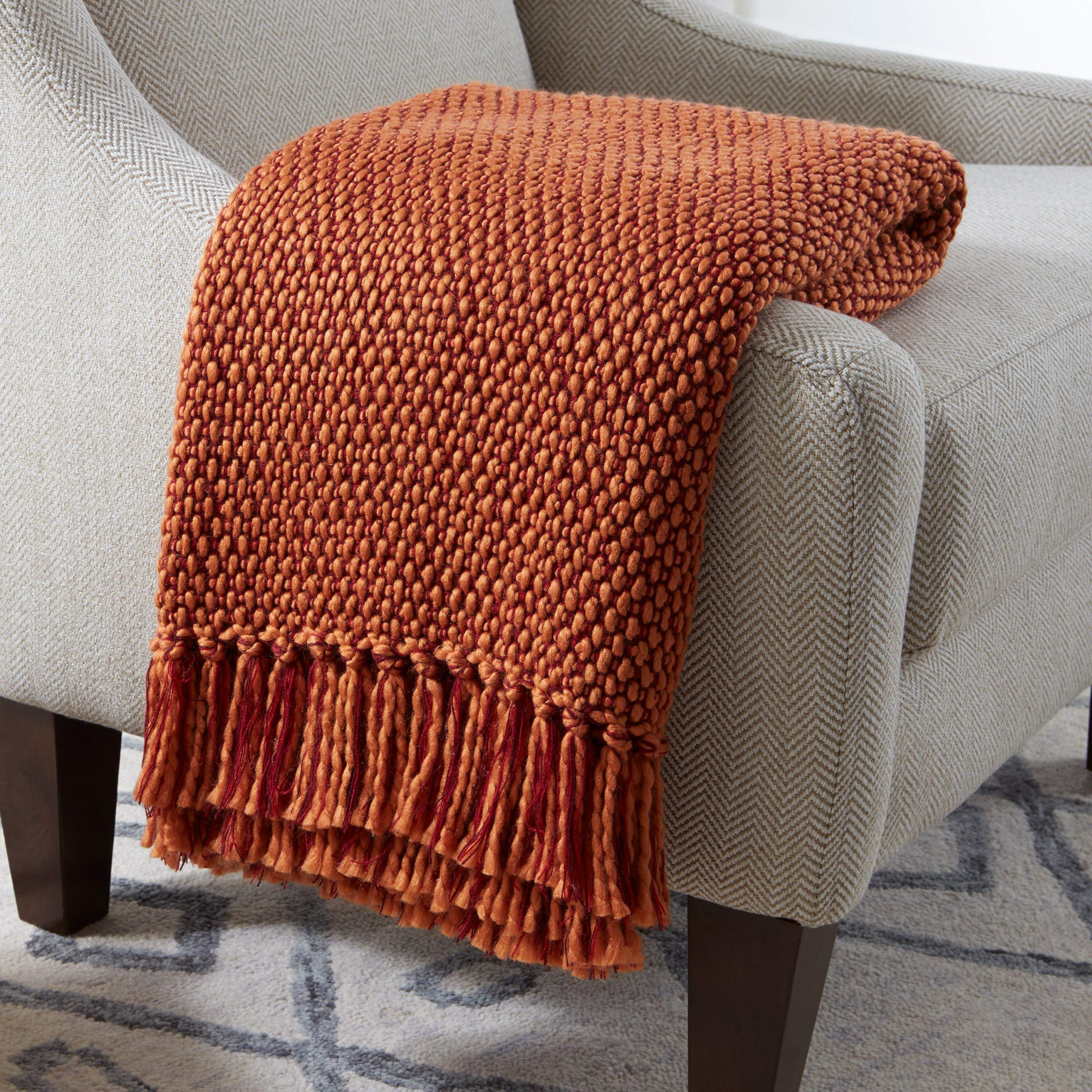 Stone & Beam Modern Woven Farmhouse Throw Blanket, Soft and Cozy, 50'' x 60'', Orange and Red by Stone & Beam