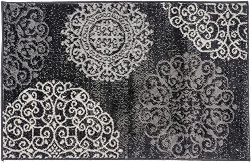 Rugshop Contemporary Modern Floral Area Rug 2 x 3 Black