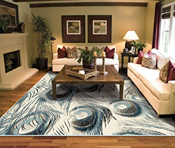 Amazon Com Large Peacock Rugs For Living Room 8x10 Ivory Clearance