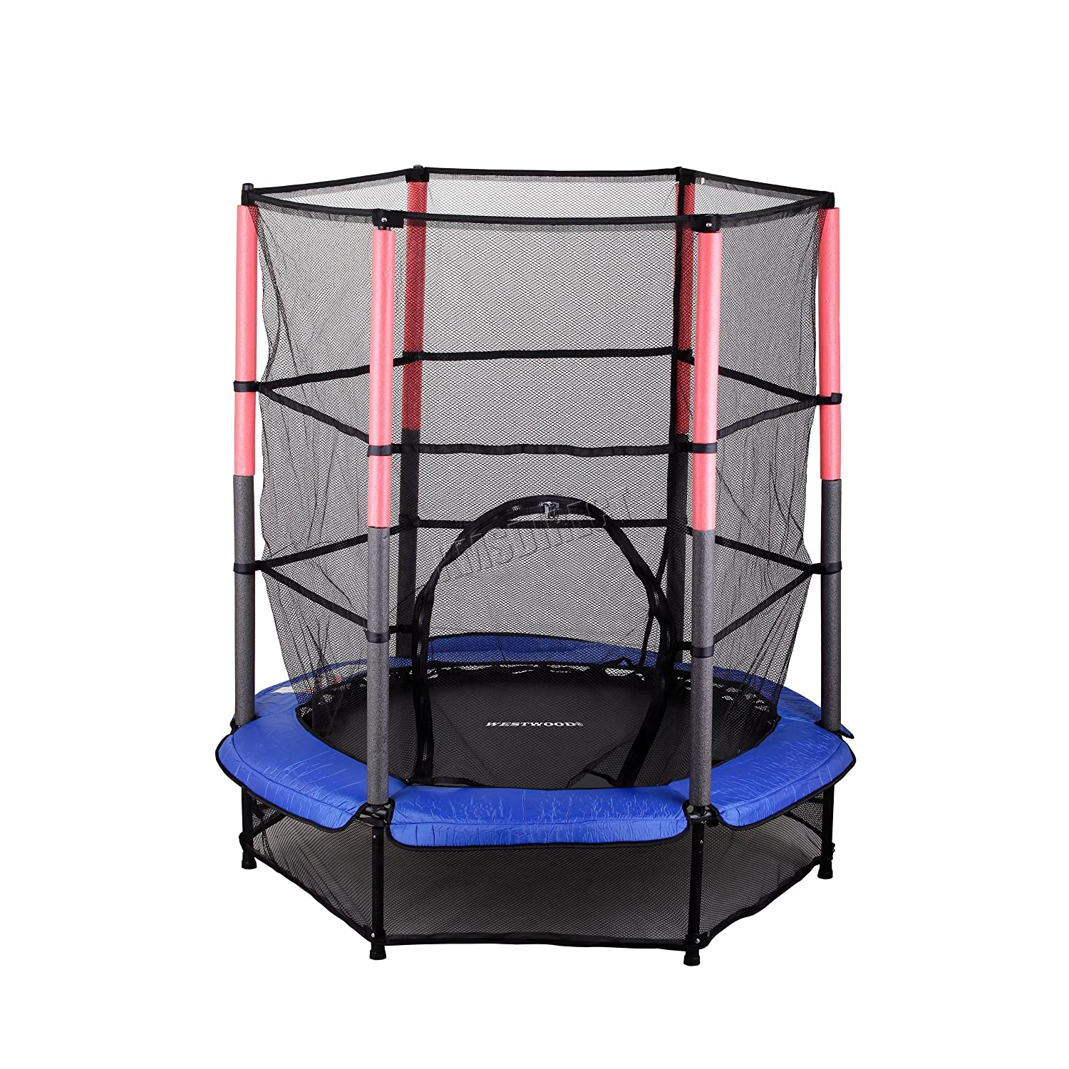 "WestWood 4.5FT 55"" Junior Trampoline With Enclosure Safety Net Kids Child Indoor Outdoor Activity Blue New KMS"