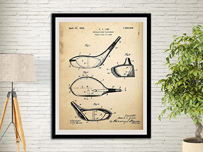 Metallic Golf Club Head Patent Art Print Golf Gifts For Men Office Decor  Sports Wall Art