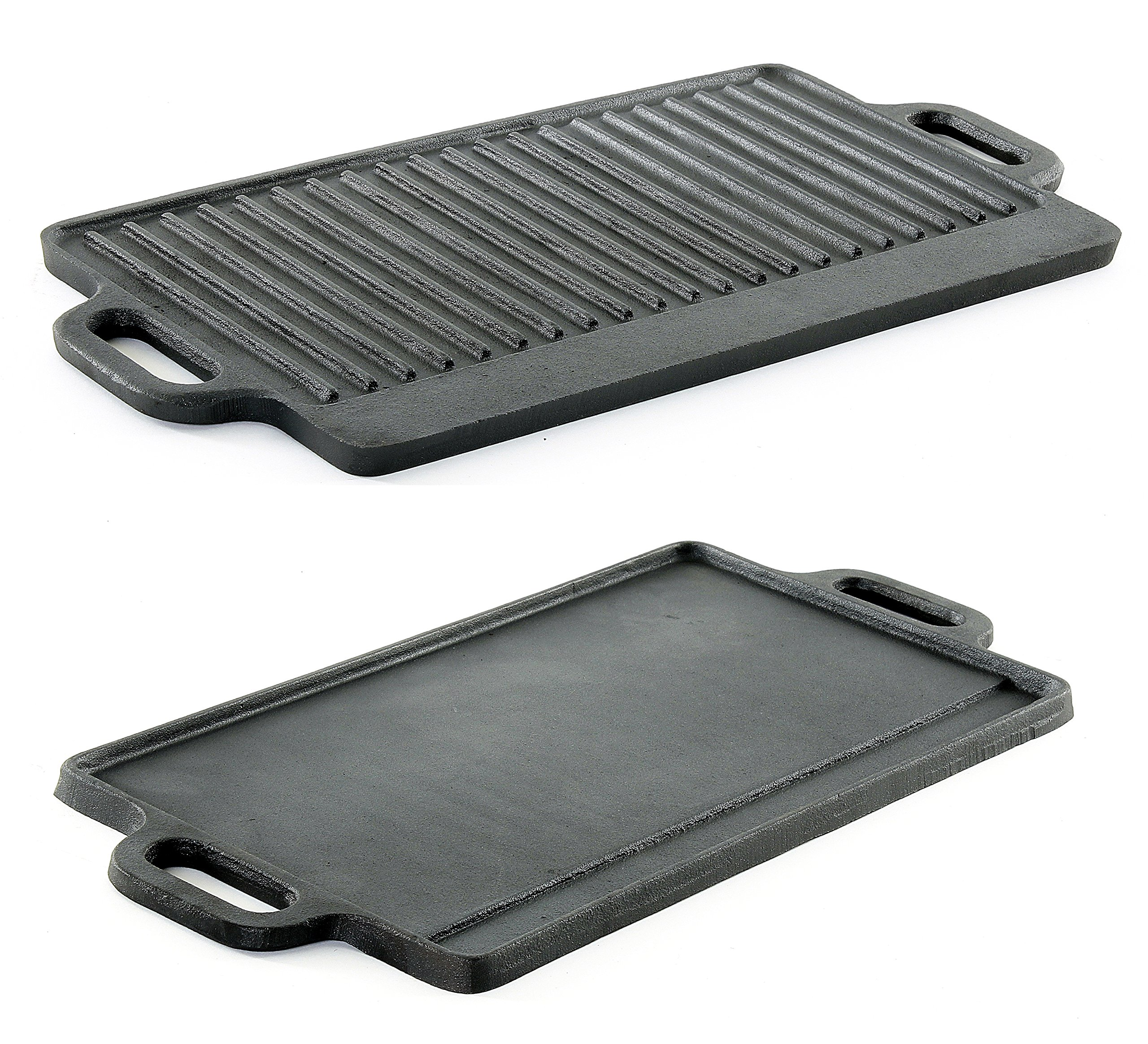 ProSource Cast Iron Grill Griddle Professional Heavy Duty Reversible Double Burner Cast Iron Grill Griddle