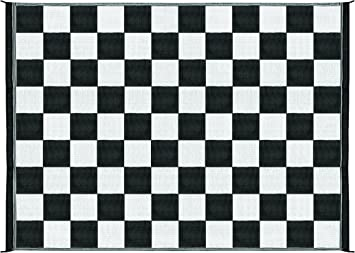 Amazon Com Camco Large Reversible Outdoor Patio Mat Mold And Mildew Resistant Easy To Clean Perfect For Picnics Cookouts Camping And The Beach 9 X 12 B W Checkered Design 42827 Black