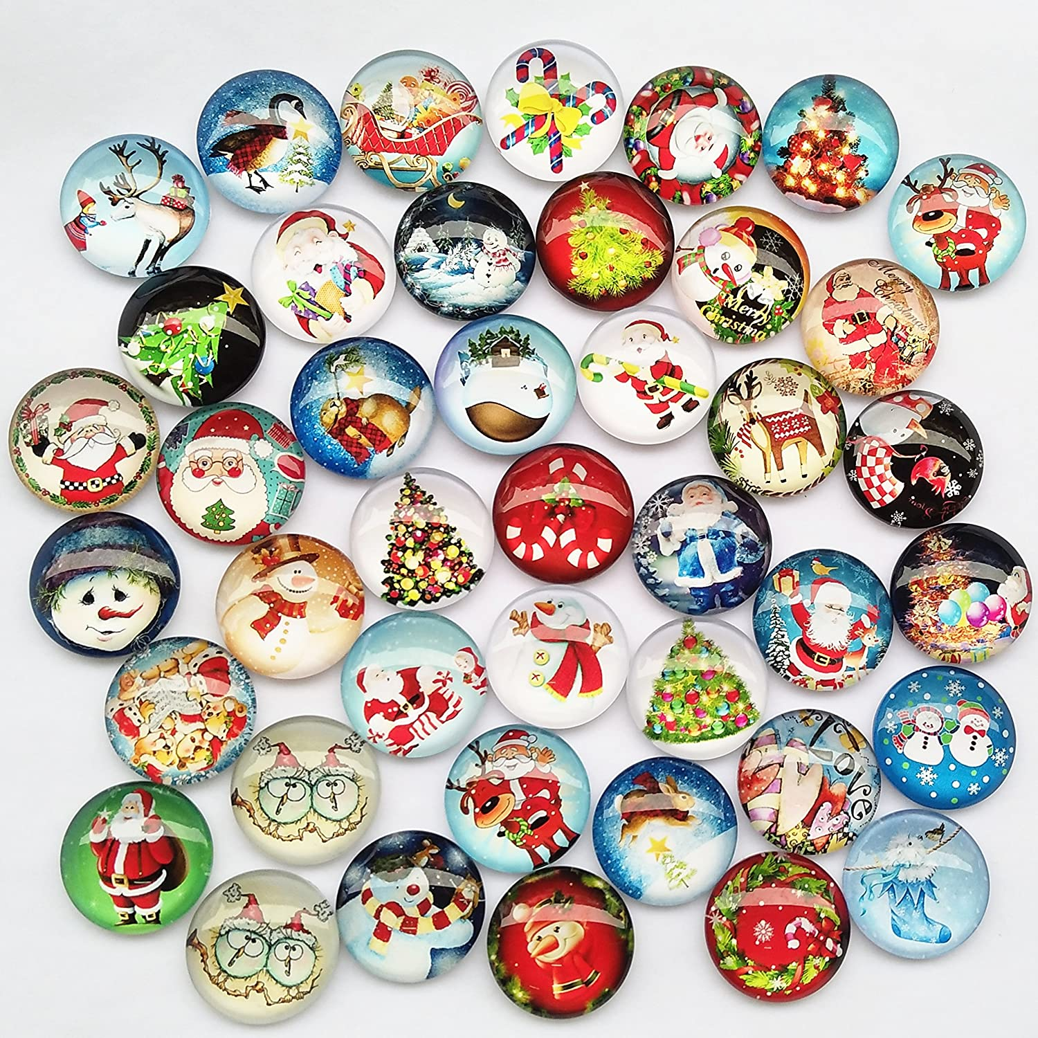 Assorted Styles Christmas Snow Man Tree Claus Jingle Bell Glass Button Flatback Flat Backs Button Glass Cameo Cabochon Phonecover Scrapbooking Diy Craft 1 Libiline  20pcs 25mm