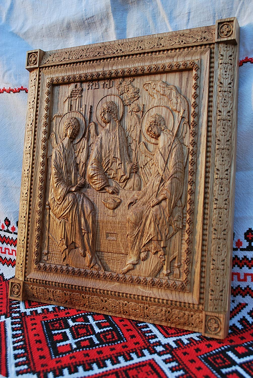 Holy Trinity Icon personalized religious gift Wood Carved religious wall plaque FREE ENGRAVING FREE SHIPPING