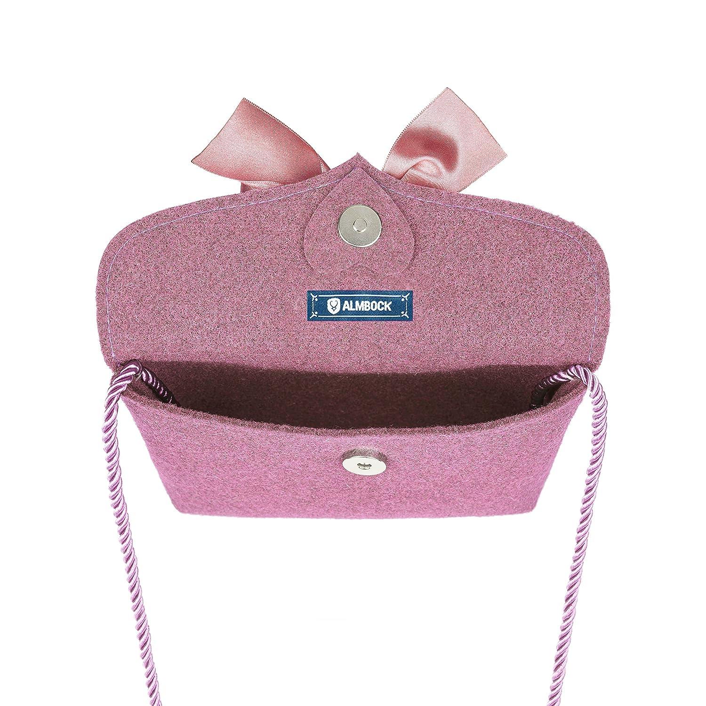 Trachten-Tasche Lilly in rosa altrosa pink - Trachtentasche handmade, handgemacht, aus 100% echtem Wollfilz, Tasche mit Schleife Almbock