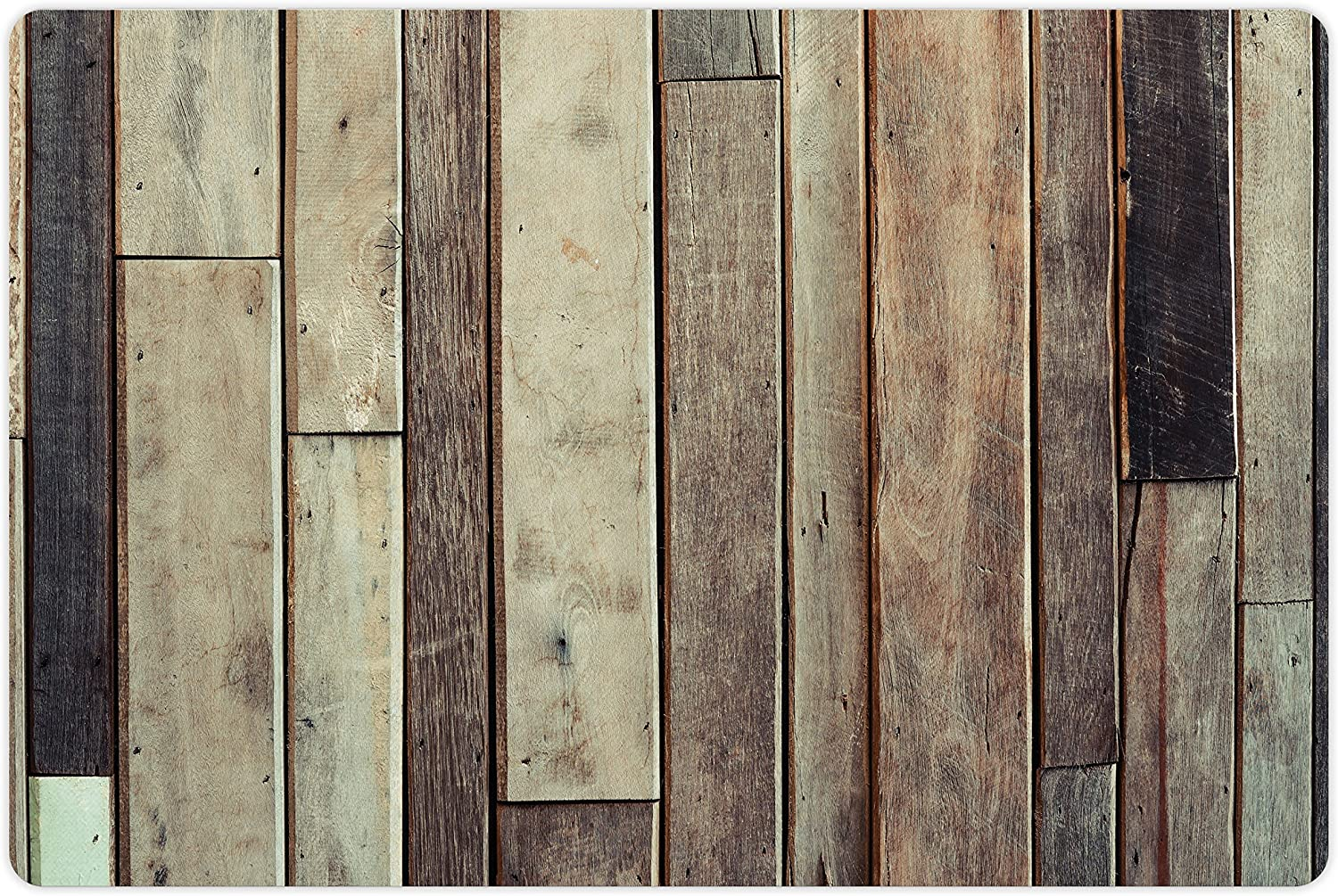 Ambesonne Pet Mat for Food and Water, Rectangle Non-Slip Rubber Mat for Dogs and Cats, Antique Planks Flooring Wall Picture American Style Western Rustic Panel Graphic Print, Brown