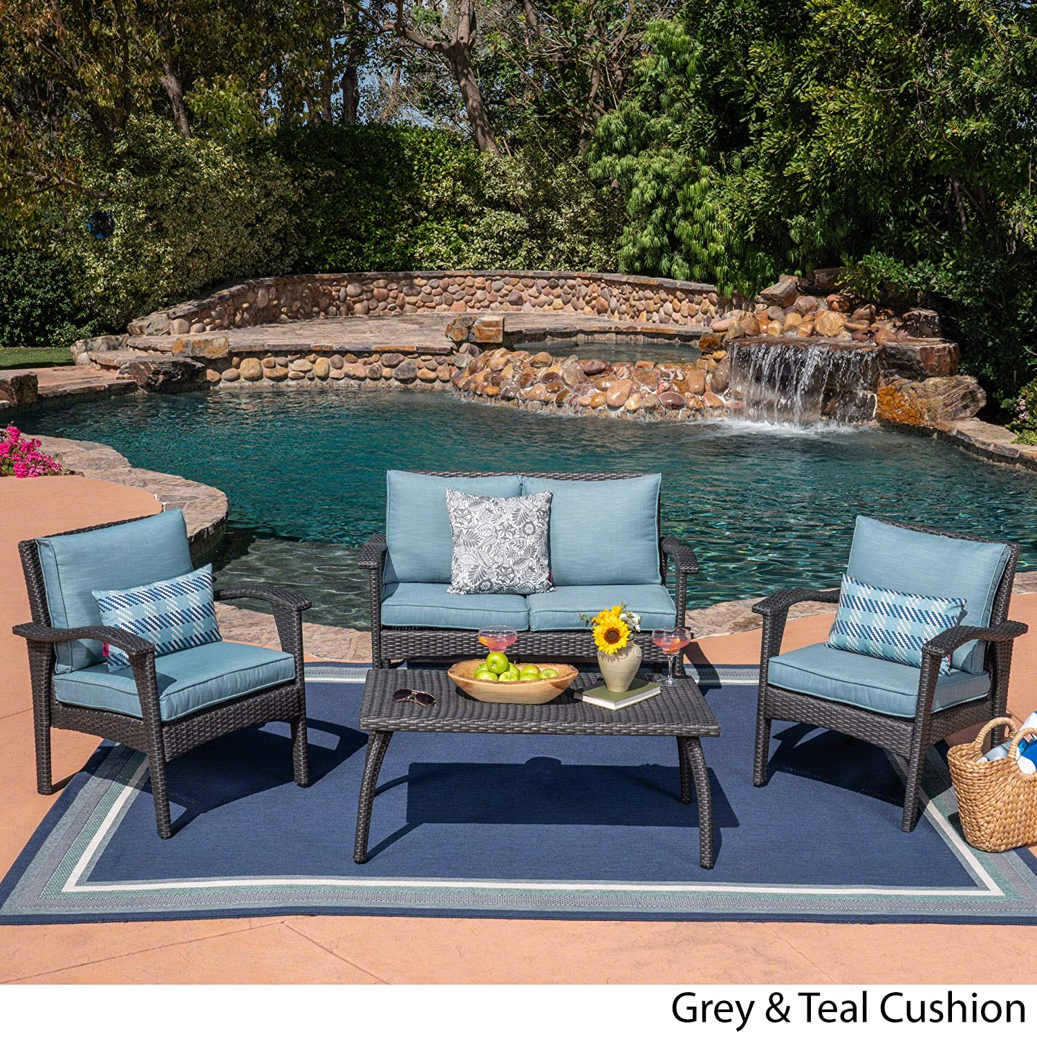 Great Deal Furniture 304148 Louise Outdoor 4 Seater Grey Wicker Chat Set with Teal Water Resistant Cushions