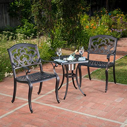 Amazon Com Ariel 3 Piece Cast Aluminum Outdoor Bistro Set With