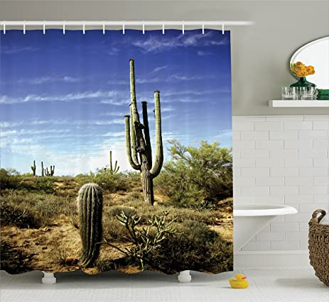 Saguaro Cactus Decor Shower Curtain Set By Ambesonne, Tall Saguaro Cactus  With Spined Leaves Desert