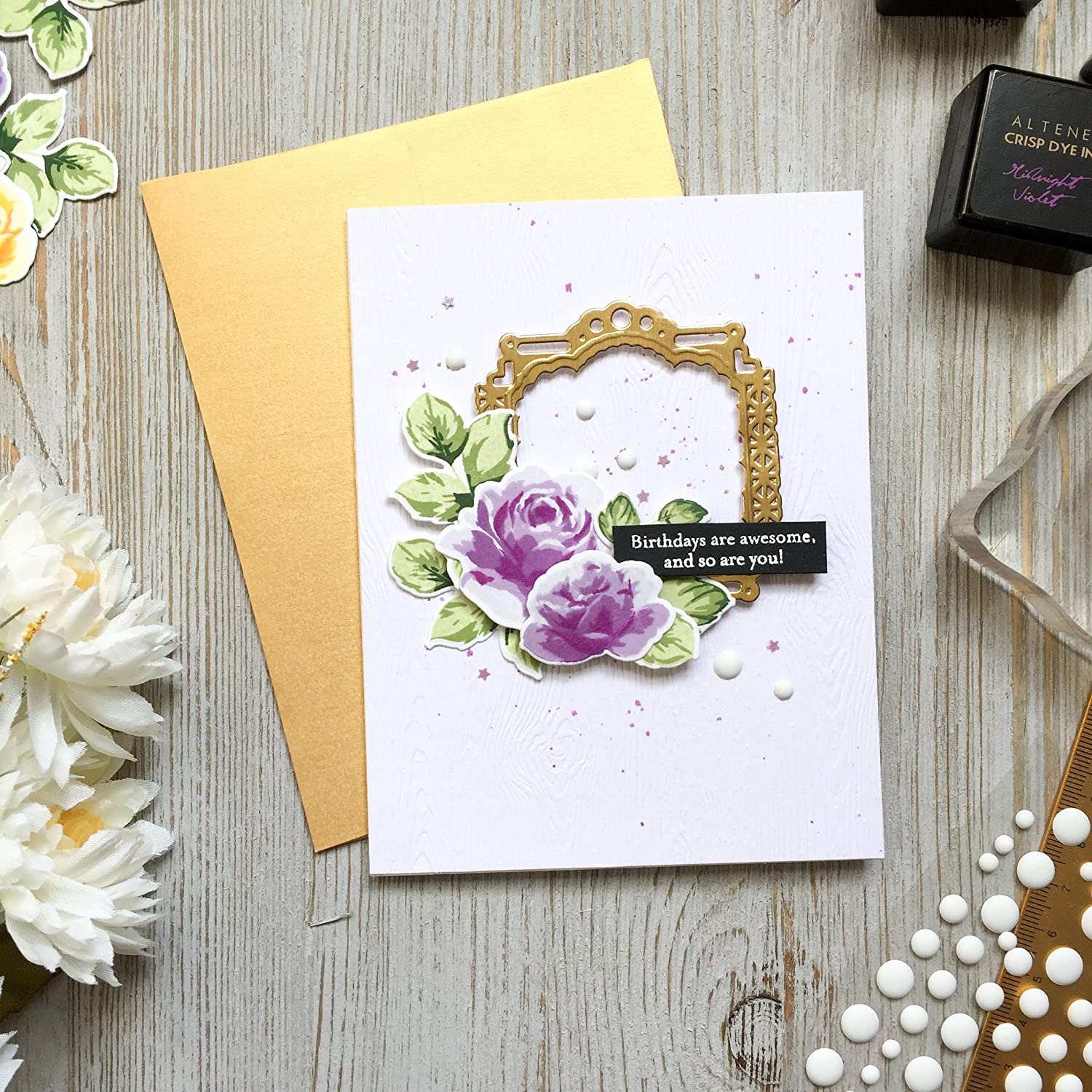 Amazon flower birthday card roses gold happy birthday amazon flower birthday card roses gold happy birthday a2 handmade greeting card purple flowers rose birthday wishes friend birthday izmirmasajfo