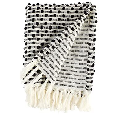 Rivet Bubble Textured Lightweight Decorative Fringe Throw Blanket, 48 W x 60 L, Black and Cream