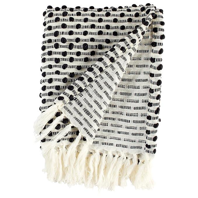 "Rivet Bubble Textured Lightweight Decorative Fringe Throw Blanket, 48"" W x 60"" L, Black and Cream"