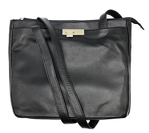 a8907f5c1196e Branco Damen Handtasche Schultertasche Shopper Taschen Umhängetasche  Schulterbeutel Echt-Leder (schwarz)