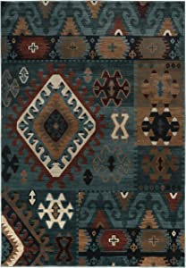 Rizzy Home Bellevue Collection Polypropylene Area Rug, Blue/Burgundy/Tan Southwest/Tribal