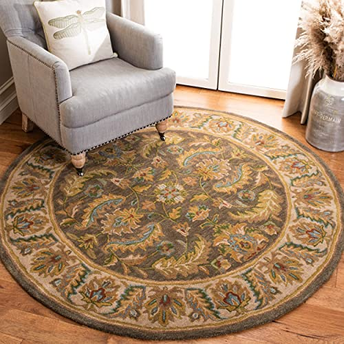 Safavieh Heritage Collection HG964A Handcrafted Traditional Oriental Green and Beige Wool Round Area Rug 6 Diameter