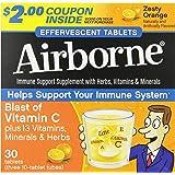 Airborne Zesty Orange Effervescent Tablets,1000mg of Vitamin C - Immune Support Supplement 30ea