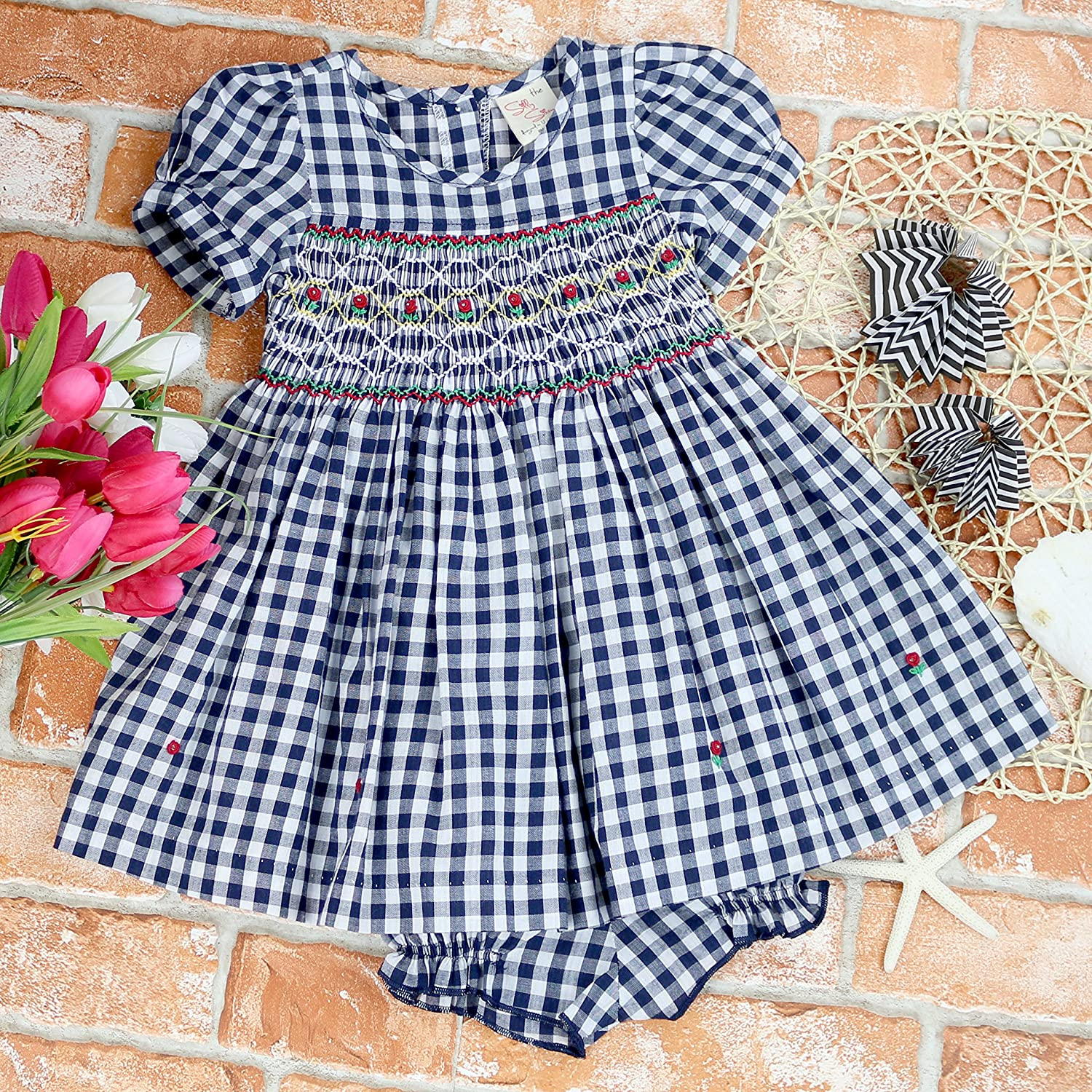 Infant and Toddlers Remy Redmonds Plaid 9-12M - 4T Hand Smocked Dress sissymini