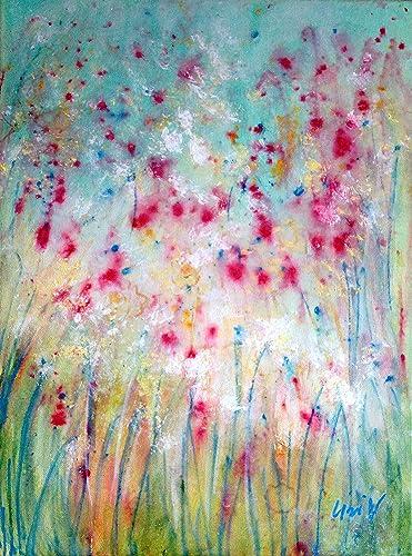 Amazon Com Original Painting Flowers Mist Abstract Acrylic
