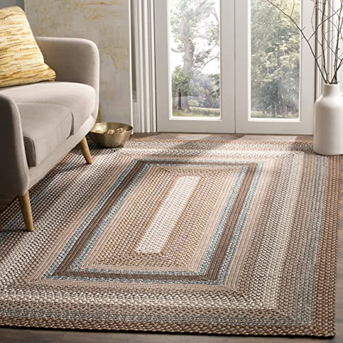 Safavieh Braided Collection BRD313A Hand Woven Brown and Multi Area Rug 5 x 8