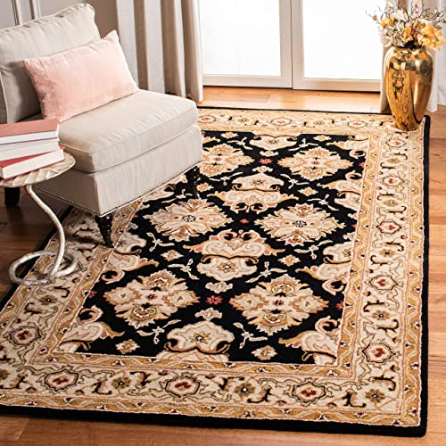 Safavieh Heritage Collection Handcrafted Traditional Oriental Black and Ivory Wool Area Rug 8 3 x 11