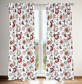 Tracy Jacobean Floral Printed Hidden Tab Curtain Panels (Set Of 2) 54x88 In