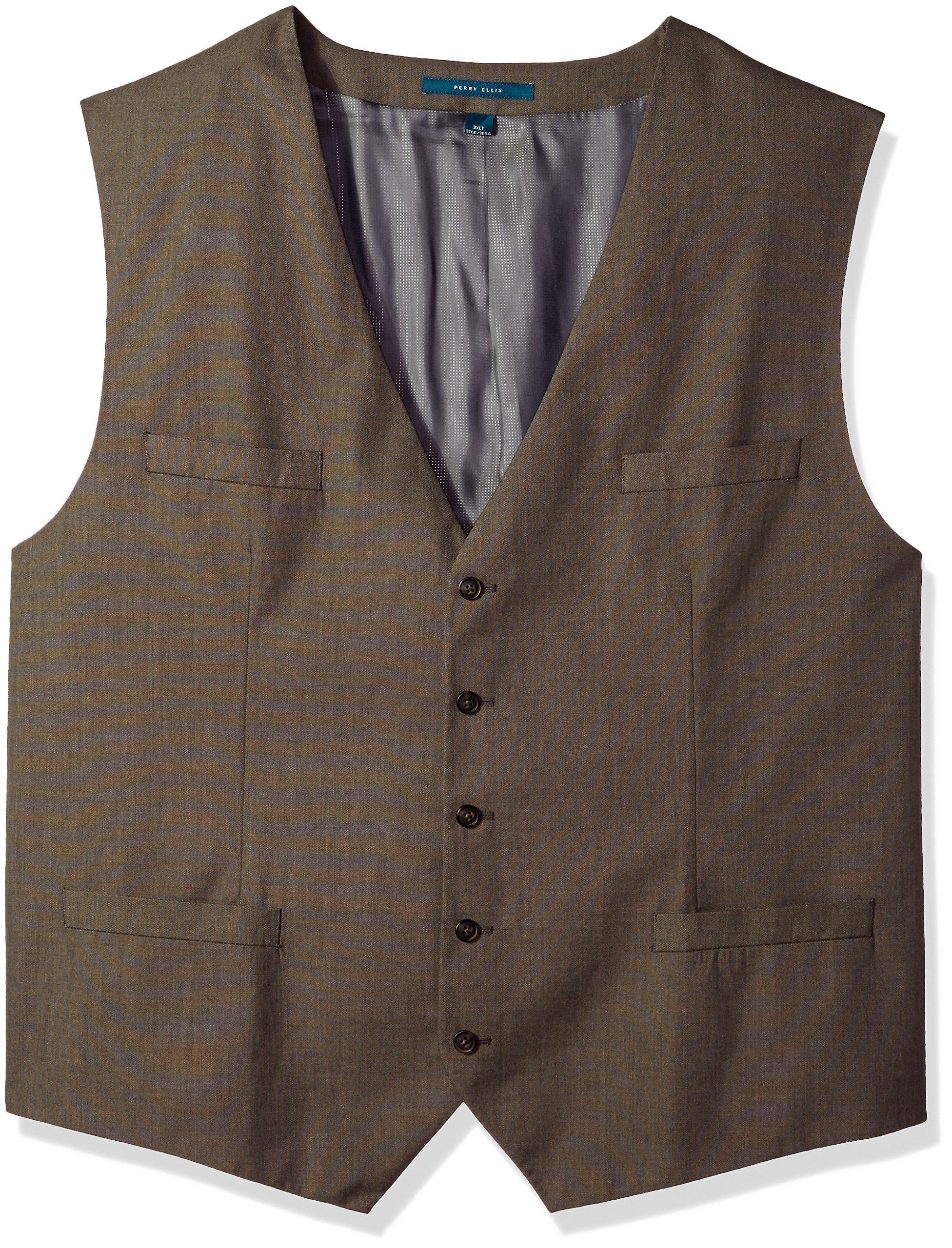 Perry Ellis Men's Big Regular Fit, Pattern Twill Suit Vest, Chinchilla, 2XL Tall
