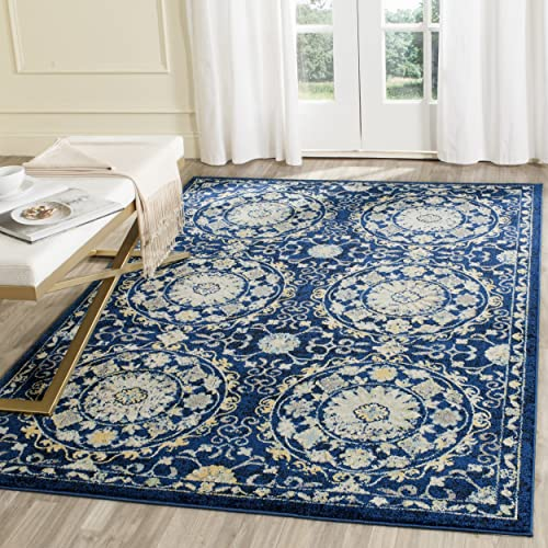 Safavieh Evoke Collection EVK252A Navy and Ivory Area Rug 3 x 5