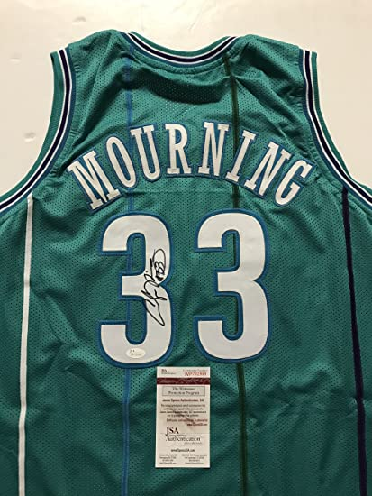 40e0cdc41 Autographed Signed Alonzo Mourning Charlotte Teal Basketball Jersey JSA COA